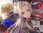 1boy 1girl back-to-back blonde_hair blue_cape blue_eyes cape cravat dagger dimitri_alexandre_bladud edelgard_von_hresvelg fire_emblem fire_emblem:_three_houses fujimaru_(green_sparrow) garreg_mach_monastery_uniform hair_ribbon long_hair looking_away red_cape ribbon serious silver_hair twitter_username uniform upper_body violet_eyes weapon