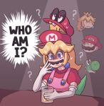 1girl ? ayyk92 confused cup drinking_glass elbow_gloves empty_eyes facial_hair fusion gloves mario mario_(series) mustache new_super_mario_bros._u_deluxe nintendo nintendo_ead overalls pink_overalls princess_peach sitting stacked_hats super_crown super_mario_64 super_mario_odyssey sweat sweating_profusely what_if yoshi