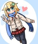 1girl bangs black_legwear blonde_hair blue_background blue_scarf blush brown_cardigan brown_footwear cardigan chisaki_tapris_sugarbell closed_mouth commentary_request eyebrows_visible_through_hair flower fringe_trim gabriel_dropout green_eyes green_flower hair_between_eyes hair_flaps hair_flower hair_ornament hana_kazari hand_up heart highres loafers long_hair looking_at_viewer pantyhose plaid plaid_skirt pleated_skirt red_skirt scarf school_uniform shoes skirt smile solo standing standing_on_one_leg two-tone_background v white_background