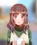 1girl alternate_hairstyle blurry blurry_background blush brown_eyes brown_hair colored_eyelashes commentary_request d: depth_of_field eyebrows_visible_through_hair furrowed_eyebrows half_updo heart heart_necklace holding holding_paper joshi_kousei_no_mudazukai juan_mao kadokawa_shoten kikuchi_akane long_hair looking_at_viewer nail_polish open_mouth paper parted_lips passione_(studio) red_nails solo star sweatdrop turtleneck twitter_username upper_body wota