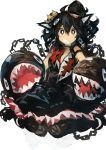 1girl absurdres animal_ears bangs black_dress black_eyes black_hair black_legwear blush chain chain_chomp crown dress highres kaamin_(mariarose753) long_hair mario_(series) messy_hair ponytail princess_chain_chomp sharp_teeth simple_background sitting sleeveless sleeveless_dress solo super_crown teeth white_background