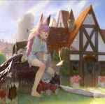 1girl absurdres animal_ears bandaid bandaid_on_nose barefoot blue_sky blurry blurry_background broom closed_eyes day dragon flag grass hair_between_eyes hat highres house long_hair mob_cap open_mouth original outdoors peko_(y28he) pink_hair rabbit shirt sitting sky very_long_hair white_flag white_shirt