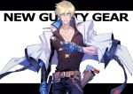 1boy bangs belt black_pants black_shirt blonde_hair blue_eyes blue_gloves closed_mouth collarbone commentary copyright_name cowboy_shot gloves guilty_gear guilty_gear_2020 hair_between_eyes highres holding holding_weapon holster jacket jacket_on_shoulders ky_kiske letterboxed long_sleeves looking_at_viewer male_focus ogata_tomio pants partly_fingerless_gloves pectorals shirt simple_background solo weapon white_background white_jacket