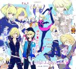 2boys animal_ears belt blonde_hair cat_ears crossover eating figure_skating futon green_eyes green_hair hair_over_one_eye hands_clasped highres hood lio_fotia male_focus multiple_belts multiple_boys nowassavie open_mouth own_hands_together promare smile thumbs_down violet_eyes yuri!!!_on_ice yuri_plisetsky