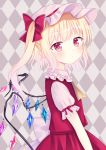 1girl :< argyle argyle_background arm_at_side blonde_hair blush cravat eyebrows_visible_through_hair flandre_scarlet from_side grey_background hat hat_ribbon head_tilt highres light_frown looking_at_viewer mob_cap nibosisuzu pink_headwear pink_shirt pointy_ears puffy_short_sleeves puffy_sleeves red_eyes red_skirt red_vest ribbon shirt short_hair short_sleeves side_ponytail skirt skirt_set solo standing touhou upper_body vest wings yellow_neckwear