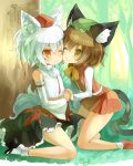 2girls :< animal_ear_fluff animal_ears arashiya black_footwear black_skirt blush brown_eyes brown_hair cat_ears cat_tail cheek_press chen cuddling detached_sleeves forest green_headwear hat holding_hands inubashiri_momiji kneeling midriff miniskirt multiple_girls multiple_tails nature navel one_eye_closed outdoors red_eyes red_footwear red_headwear red_skirt red_vest sandals shirt shoes short_hair silver_hair sitting skirt smile socks tail touhou vest white_footwear white_shirt white_sleeves wolf_ears wolf_tail yuri