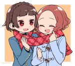 2girls :d atlus autumn bangs blue_coat blunt_bangs braid brown_eyes brown_hair closed_eyes crown_braid cute do_m_kaeru long_sleeves megami_tensei moe multiple_girls niijima_makoto okumura_haru open_mouth orange_background persona persona_5 plaid plaid_scarf red_scarf scarf shared_scarf short_hair smile twitter_username upper_body winter_clothes |d
