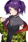 1girl asato_(fadeless) bangs breasts camouflage_jacket collar diagonal_bangs ear_piercing earrings eyebrows_visible_through_hair green_nails highres idolmaster idolmaster_shiny_colors jacket jewelry looking_at_viewer open_clothes open_jacket piercing purple_hair purple_nails simple_background sleeves_past_wrists smile solo tanaka_mamimi twintails violet_eyes white_background