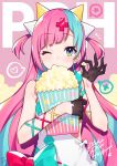 1girl bag bangs bare_shoulders black_gloves blue_hair bow character_name commentary diagonal_bangs dress food gloves hair_ornament half_gloves highres holding holding_bag holding_food long_hair looking_at_viewer mika_pikazo multicolored_hair one_eye_closed pink_hair pinky_pop_hepburn popcorn solo sports_bra striped striped_background the_moon_studio two-tone_hair two_side_up upper_body very_long_hair virtual_youtuber white_dress x_hair_ornament