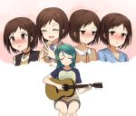 2girls acoustic_guitar bang_dream! bangs black_vest blue_shirt blush brown_eyes brown_hair brown_shirt closed_eyes collar cyan_aeolin green_hair guitar hazawa_tsugumi hikawa_sayo imagining instrument long_hair multiple_girls music nose_blush padlocked_collar playing_instrument shirt short_hair sitting steepled_fingers studded_collar sweater_vest t-shirt vest white_background yuri
