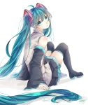 1girl absurdres arm_support bangs bare_shoulders black_legwear black_skirt blue_eyes blue_hair blue_nails detached_sleeves expressionless eyebrows_visible_through_hair eyelashes facing_away fingernails full_body hair_between_eyes hatsune_miku head_tilt highres long_hair looking_at_viewer looking_back mai_mugi shadow shiny shiny_skin shirt signature simple_background sitting skirt sleeveless sleeveless_shirt solo thigh-highs twintails very_long_hair vocaloid white_background white_shirt zettai_ryouiki