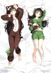 2girls ahoge animal_costume animal_print artist_name bangs barefoot bed_sheet black_hair bow closed_mouth commentary commission dakimakura eyebrows_visible_through_hair frog_print full_body green_bow green_shorts grey_eyes hair_bow highres hood hood_up jumpsuit long_hair long_sleeves looking_at_viewer lying marmalade_(elfless_vanilla) multiple_girls navel on_back original pajamas pillow rubbing_eyes shorts siblings single_sock sisters smile socks socks_removed stuffed_animal stuffed_frog stuffed_raccoon stuffed_toy white_legwear