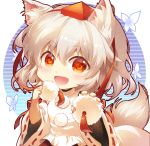 1girl :d animal_ear_fluff animal_ears bangs blush breasts chibi circle commentary eyebrows_visible_through_hair hair_between_eyes hat holding inubashiri_momiji light_particles long_sleeves looking_at_viewer open_mouth pom_pom_(clothes) red_eyes shangguan_feiying shirt short_hair silver_hair simple_background small_breasts smile solo tail tassel tokin_hat touhou upper_body white_background white_shirt wide_sleeves wolf_ears wolf_tail