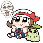 1boy 1girl :3 bag bkub blush bow brown_eyes brown_hair chibi chikorita eyebrows_visible_through_hat facial_hair gen_2_pokemon glasses gym_leader hat hat_bow head_rest katsura_(pokemon) kotone_(pokemon) mustache open_mouth overall_shorts overalls pokemon pokemon_(creature) pokemon_(game) pokemon_hgss red_bow simple_background sitting thigh-highs white_background white_headwear white_legwear