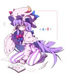 1girl adjusting_eyewear bangs bespectacled blue_bow blunt_bangs book bow capelet commentary crescent dress frilled_sleeves frills gla glasses hair_bow hat hat_bow kneeling long_hair long_sleeves mob_cap patchouli_knowledge pink_headwear purple_hair quill red_bow shoes simple_background solo striped striped_dress touhou violet_eyes white_background wide_sleeves