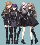 4girls :d ;d black_dress black_footwear black_gloves black_jacket black_legwear black_nails black_shirt black_skirt blue_background blush boots breasts brown_eyes brown_hair closed_mouth cropped_jacket cross-laced_footwear dress ear_piercing earrings fingerless_gloves fingernails fushimi_gaku garter_straps genderswap genderswap_(mtf) gloves green_eyes grey_eyes hair_ornament hairclip half_gloves hand_up head_tilt headset high_heel_boots high_heels jacket jewelry kanae_(nijisanji) kenmochi_touya kuzuha_(nijisanji) lace-up_boots long_hair long_sleeves looking_at_viewer medium_breasts multiple_girls nail_polish nijisanji o-ring one_eye_closed open_mouth pantyhose partly_fingerless_gloves piercing pleated_skirt purple_hair red_eyes see-through shirt silver_hair simple_background single_thighhigh skirt smile standing thigh-highs v very_long_hair virtual_youtuber yamabukiiro