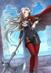 1girl adsouto blonde_hair blue_eyes cape cravat edelgard_von_hresvelg fire_emblem fire_emblem:_three_houses garreg_mach_monastery_uniform gloves hair_ornament hair_ribbon highres long_hair looking_at_viewer pantyhose red_cape ribbon simple_background smile solo uniform