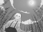 1girl bamboo bamboo_forest bow clouds forest from_below fujiwara_no_mokou full_moon greyscale hair_bow hands_in_pockets long_hair monochrome moon nature pants shirt short_sleeves sky solo star star_(sky) suspenders touhou tuck very_long_hair white_shirt
