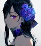 1girl achiki bangs bare_shoulders black_hair choker closed_mouth dress earrings eyelashes flower from_side grey_background hair_flower hair_ornament hair_ribbon jewelry long_hair looking_at_viewer makeup mole mole_under_mouth original purple_flower ribbon see-through simple_background solo strapless strapless_dress upper_body violet_eyes