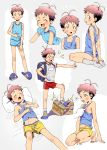 1boy 3ji absurdres ahoge antenna_hair bandaid bandaid_on_knee black_hair blue_eyes blush boxers brown_hair character_sheet closed_eyes drooling fang full_body gym_shirt gym_shorts gym_uniform highres male_focus multicolored_hair open_mouth original pillow shirt shoes shorts sleeping slippers smile sneakers socks tank_top two-tone_hair underwear white_legwear