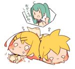 1boy 2girls :i afterimage aqua_hair barefoot blonde_hair bloomers blush_stickers bow chibi commentary_request crying dripping hair_bow hair_ornament hairclip kagamine_len kagamine_rin kicking kitsune_no_ko lying multiple_girls o_o on_back on_stomach outstretched_arms pout shared_thought_bubble short_hair simple_background sleeveless tantrum thought_bubble translation_request underwear vocaloid waving_arms white_background white_bow