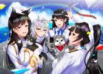 4girls aircraft airplane animal animal_ears atago_(azur_lane) azur_lane bangs black_hair black_legwear blue_sky blush bow breasts brown_eyes choukai_(azur_lane) clouds day extra_ears eyebrows_visible_through_hair hair_between_eyes hair_bow hair_flaps hair_ornament hair_ribbon holding holding_animal kagiyama_(gen'ei_no_hasha) large_breasts long_hair long_sleeves looking_at_viewer maya_(azur_lane) military military_uniform miniskirt mole mole_under_eye multiple_girls open_mouth outdoors pleated_skirt ponytail ribbon scarf school_uniform serafuku shirt short_hair silver_hair skirt sky smile swept_bangs takao_(azur_lane) uniform very_long_hair white_bow white_ribbon white_scarf