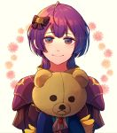 1girl bernadetta_von_varley bow closed_mouth fire_emblem fire_emblem:_three_houses gloves hair_bow holding holding_stuffed_animal hzk_(ice17moon) long_sleeves medium_hair purple_hair smile solo stuffed_animal stuffed_toy teddy_bear upper_body yellow_gloves