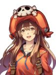 1girl backpack bag blush brown_eyes brown_hair guilty_gear guilty_gear_2020 hair_between_eyes hat hood hoodie i-la may_(guilty_gear) open_mouth orange_eyes orange_headwear orange_hoodie simple_background skull smile solo upper_body upper_teeth white_background