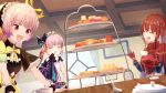 385oo 3girls atelier_(series) atelier_lydie_&_suelle belt bow bowtie capelet closed_eyes cousins cup curtains eating food gloves hairband highres long_hair lucia_borthayre lydie_marlen multiple_girls open_mouth pink_eyes pink_hair redhead sandwich siblings side_ponytail sisters suelle_marlen sweets teacup twintails upper_body window