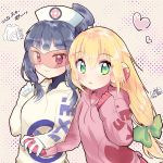 2girls bangs blonde_hair blunt_bangs blush bow co_koro4 colored_lenses commentary_request eyebrows_visible_through_hair glasses gloves green_bow green_eyes hair_between_eyes hair_bow hat heart highres holding_hand hood hooded_sweater long_hair looking_at_viewer low-tied_long_hair medi multiple_girls nurse nurse_cap pink_gloves polka_dot polka_dot_background red-tinted_eyewear rockman rockman_exe rockman_exe_5 roll_exe smile sweater white_gloves yuri