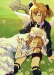 1boy 1girl angel_wings bangs black_flower black_jacket black_neckwear blonde_hair brother_and_sister closed_eyes commentary cross crying daisy dress field flower formal frilled_dress frills grass hair_flower hair_ornament hair_ribbon hairclip hand_on_another's_head hat jacket kagamine_len kagamine_rin kneehighs layered_dress lying mini_hat necktie on_side outdoors ribbon shirt short_hair short_ponytail shorts siblings sitting sleeping sleeping_on_person spiky_hair suit suit_jacket swept_bangs tears tombstone tuxedo twins vocaloid w.r.b white_dress white_ribbon white_shirt wings