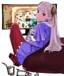1girl albino bean_bag_chair brown_legwear capcom_fighting_jam commentary_request controller dress drinking dualshock game_controller gamepad hairpods highres ingrid looking_back milk_carton no_shoes pantyhose purple_dress red_eyes solo television tetsu_(kimuchi) white_hair