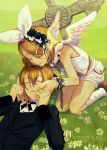 1boy 1girl angel angel_wings bangs bare_shoulders black_ribbon black_suit blonde_hair bow brother_and_sister closed_eyes commentary cross crying daisy day flower formal frilled_headband grass hair_bow hair_flower hair_ornament hairclip hand_on_another's_face head_on_head holding_hands kagamine_len kagamine_rin kneeling leaning_forward light_smile lying neck_ribbon on_back outdoors ribbon shirt shoes short_hair shorts siblings sleeveless sleeveless_shirt socks suit swept_bangs tears tombstone tuxedo twins vocaloid w.r.b white_bow white_legwear white_shirt white_shorts wings wrist_cuffs wrist_ribbon