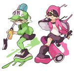 +_+ 2girls :p aori_(splatoon) baseball_cap beanie black-framed_eyewear black_dress black_footwear black_hair black_skirt boots brown_eyes closed_mouth commentary cousins cross-laced_footwear domino_mask dress e-liter_4k_(splatoon) earrings english_commentary eyebrows_visible_through_hair green_headwear green_jacket green_legwear grey_hair hat head_tilt holding holding_weapon hotaru_(splatoon) inkling_(language) jacket jewelry long_hair long_sleeves looking_at_viewer mask miniskirt mole mole_under_eye multiple_girls object_on_head open_clothes open_jacket paint_splatter pantyhose pointy_ears print_hat purple_headwear purple_jacket purple_legwear shirt shoes short_dress short_hair simple_background skirt skull smile sneakers socks splat_roller_(splatoon) splatoon_(series) splatoon_2 squidbeak_splatoon standing sunglasses surgical_mask tentacle_hair tongue tongue_out weapon white_background white_shirt wong_ying_chee