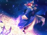 breasts butterfly cherry_blossoms fan folding_fan goshoguruma hat highres japanese_clothes lace large_breasts pink_eyes pink_hair red_eyes red_hair saigyouji_yuyuko saigyouji_yuyuko's_fan_design shippou_(pattern) short_hair simosi solo touhou tree walpurgisnacht
