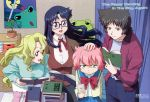 :d androgynous anita_king annoyed black_hair blonde_hair blue_eyes blue_hair book bow breasts child desk everyone flat_chest frog glasses green_eyes hand_on_head ishihama_masashi large_breasts leaning_forward long_hair maggie_mui michelle_cheung multiple_girls official_art open_clothes open_mouth open_shirt paper pink_hair plant pleated_skirt poster_(object) r.o.d_the_tv read_or_die red_eyes ribbon scan school_uniform serafuku shirt short_hair siblings sisters skirt smile standing stuffed_animal stuffed_toy sweater tomboy trench_coat turtleneck very_long_hair wavy_hair yellow_eyes yomiko_readman