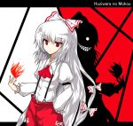 alphes_(style) bow character_name evil_grin evil_smile fire fujiwara_no_mokou grin hair_bow hair_ornament isa long_hair magic parody red_eyes ribbon shadow silver_hair smile solo style_parody touhou very_long_hair white_hair