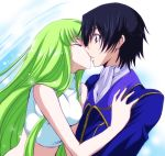 c.c. cc closed_eyes code_geass green_hair kiss kurimomo lelouch_lamperouge long_hair midriff sleeveless sleeveless_turtleneck turtleneck