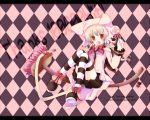 bell bow bows broom broom_riding brown_eyes candy checkerboard checkered fang hat hits lollipop long_hair original ribbon ribbons sakurai_yuyu striped striped_legwear striped_thighhighs swirl_lollipop tail thigh-highs thighhighs twintails wallpaper