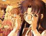 :d adjusting_glasses androgynous anita_king black_hair blonde_hair blush blush_stickers brown_hair child everyone glasses green_eyes hand_on_head hand_over_mouth laughing long_hair maggie_mui messy_hair michelle_cheung multiple_girls open_mouth pink_hair r.o.d_the_tv read_or_die ribbon shirt shopping short_hair smile striped striped_shirt sumiregawa_nenene suspenders turtleneck vest wavy_hair yomiko_readman yusao