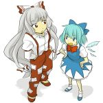 aqua_hair blue_eyes bow cirno from_above fujiwara_no_mokou grey_hair hair_bow hands_in_pockets hands_on_hips multiple_girls red_eyes ririvery sidelocks simple_background standing sweat tomo_(artist) touhou wings