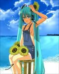 bad_id breasts flower hatsune_miku jirou_(slept) naked_overalls overalls sideboob sunflower twintails vocaloid