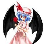 apples bat_wings blue_hair food fruit kachuten red_eyes remilia_scarlet touhou wings