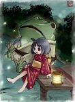 feet_in_water frog japanese_clothes kaisanbutsu kimono lake lantern soaking_feet toad water