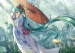 1girl flower graveyard green_eyes green_hair hair_flower hair_ornament hatsune_miku holding holding_umbrella japanese_clothes kimono long_hair max oriental_umbrella outdoors solo twintails umbrella very_long_hair vocaloid xiaosan_ye