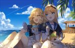 2girls artist_name beach blonde_hair blue_eyes blue_sailor_collar blue_sky clouds commentary_request dated day dress food gloves hat highres ice_cream janus_(kantai_collection) jervis_(kantai_collection) kantai_collection kumin_(6939359) long_hair multiple_girls outdoors sailor_collar sailor_dress sailor_hat shade short_hair short_sleeves sitting sky smile upper_body white_dress white_gloves white_headwear