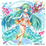 1girl breasts bubble copyright_request elbow_gloves fish gloves green_eyes green_hair heart heart_bubbles jewelry long_hair medium_breasts meisuke_mei midriff navel necklace official_art orange_panties panties pearl_(gemstone) pearl_necklace pointy_ears shell smile solo starfish underwear very_long_hair wand water white_gloves