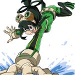 1girl :> asui_tsuyu black_eyes black_hair blush bodysuit boku_no_hero_academia breasts commentary_request frog_girl gloves green_bodysuit hair_between_eyes hair_rings long_hair long_tongue looking_at_viewer low-tied_long_hair medium_breasts open_mouth simple_background smile solo tongue tongue_out water white_background yazwo