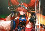 1girl armor bangs bare_shoulders blunt_bangs chinese_clothes cinkai copyright_request facial_mark gauntlets headgear long_hair red_eyes slit_pupils solo tagme upper_body