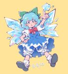 (9) 1girl akiyoku black_footwear bloomers blue_dress blue_eyes blue_hair blush bow cirno commentary dated dress green_bow hair_bow hand_on_hip highres ice ice_wings index_finger_raised looking_at_viewer puffy_short_sleeves puffy_sleeves red_bow shoes short_hair short_sleeves simple_background socks solo touhou underwear wings yellow_background